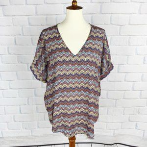 Lush Multicolor Chevron Cap Sleeve Slouchy Top M
